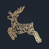 σχέδιο με τη floral διακόσμηση δαντελλών για τη συλλογή Χριστουγέννων Στοκ Εικόνα