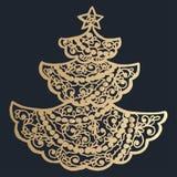 σχέδιο με τη floral διακόσμηση δαντελλών για τη συλλογή Χριστουγέννων Στοκ εικόνα με δικαίωμα ελεύθερης χρήσης