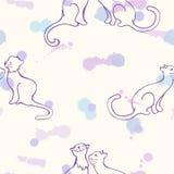 Σχέδιο με τις γάτες που χρωματίζεται στο υπόβαθρο των λεκέδων Στοκ εικόνα με δικαίωμα ελεύθερης χρήσης