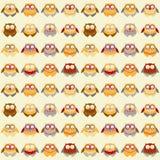 Σχέδιο με τις διαφορετικές κουκουβάγιες Στοκ Εικόνες
