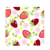 Σχέδιο με τις φράουλες και τα λουλούδια διανυσματική απεικόνιση