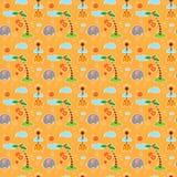 Σχέδιο με τους ελέφαντες, giraffes, τα σύννεφα, τους φοίνικες και τα φρούτα Στοκ Φωτογραφία