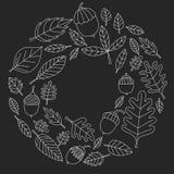 Σχέδιο με το δρύινο βελανίδι Linden Mapple φύλλων φθινοπώρου απεικόνιση αποθεμάτων