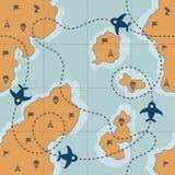 Σχέδιο με το χάρτη και τη διαστιγμένη διαδρομή Στοκ Φωτογραφία