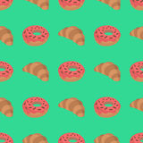 Σχέδιο με croissant και doughnut Στοκ Εικόνα