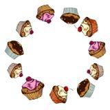 Σχέδιο με muffins Στοκ Εικόνες