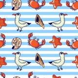 σχέδιο με seagull, το καβούρι και το κοχύλι Στοκ Εικόνες