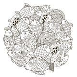 Σχέδιο μορφής κύκλων με τα διακοσμητικά ψάρια για το χρωματισμό του βιβλίου Στοκ εικόνες με δικαίωμα ελεύθερης χρήσης