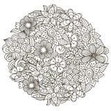 Σχέδιο μορφής κύκλων με τα χαριτωμένα λουλούδια για το χρωματισμό του βιβλίου Στοκ φωτογραφία με δικαίωμα ελεύθερης χρήσης