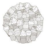 Σχέδιο μορφής κύκλων με τα χαριτωμένα παγωτά για το χρωματισμό του βιβλίου Στοκ εικόνα με δικαίωμα ελεύθερης χρήσης
