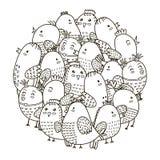 Σχέδιο μορφής κύκλων με τα χαριτωμένα πουλιά για το χρωματισμό του βιβλίου Στοκ Φωτογραφία
