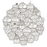 Σχέδιο μορφής κύκλων με τα χαριτωμένα cupcakes για το χρωματισμό του βιβλίου Στοκ φωτογραφία με δικαίωμα ελεύθερης χρήσης