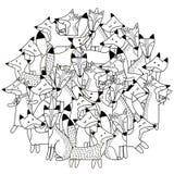 Σχέδιο μορφής κύκλων με τις χαριτωμένες αλεπούδες για το χρωματισμό του βιβλίου Στοκ Εικόνες
