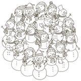 Σχέδιο μορφής κύκλων με τους χαριτωμένους χιονανθρώπους για το χρωματισμό του βιβλίου Στοκ Φωτογραφίες