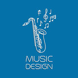 Σχέδιο μουσικής με το saxophone alto ελεύθερη απεικόνιση δικαιώματος