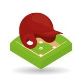 Σχέδιο μπέιζ-μπώλ, αθλητισμός και απεικόνιση προμηθειών Στοκ Φωτογραφία