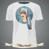 Σχέδιο μπλουζών με την απεικόνιση του κοριτσιού κινούμενων σχεδίων με το λευκό και Στοκ Φωτογραφία