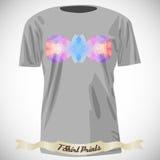 Σχέδιο μπλουζών με τη ζωηρόχρωμη αφηρημένη απεικόνιση με το τρίγωνο Στοκ Εικόνα