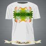 Σχέδιο μπλουζών με τη ζωηρόχρωμη αφηρημένη απεικόνιση με το τρίγωνο Στοκ Εικόνες