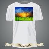 Σχέδιο μπλουζών με τη ζωηρόχρωμη τετραγωνική μορφή με το αφηρημένο μωσαϊκό α Στοκ Φωτογραφία