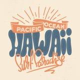 Σχέδιο μπλουζών της Χαβάης στο αναδρομικό ύφος Στοκ Φωτογραφίες