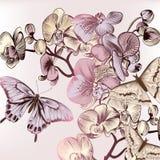 Σχέδιο μόδας με τις πεταλούδες και τις ορχιδέες Στοκ Εικόνες