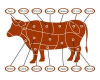 Σχέδιο να κοπεί το κρέας βόειου κρέατος αγελάδων επίσης corel σύρετε το διάνυσμα απεικόνισης Στοκ εικόνα με δικαίωμα ελεύθερης χρήσης