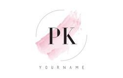 Σχέδιο λογότυπων επιστολών του PK Π Κ Watercolor με το κυκλικό σχέδιο βουρτσών Στοκ φωτογραφία με δικαίωμα ελεύθερης χρήσης
