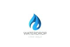 Σχέδιο λογότυπων πτώσης νερού Εικονίδιο Aqua Waterdrop κορδελλών Στοκ Φωτογραφία