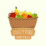 Σχέδιο λογότυπων του καλαθιού φρούτων με την εγγραφή επίσης corel σύρετε το διάνυσμα απεικόνισης Στοκ Εικόνες
