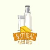 Σχέδιο λογότυπων των γαλακτοκομικών προϊόντων με το πλαίσιο και την εγγραφή Στοκ Εικόνες