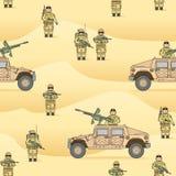 Σχέδιο: οι στρατιώτες στις άμμους Θύελλα ερήμων λειτουργίας διανυσματική απεικόνιση