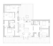 Σχέδιο ορόφων ot το σπίτι διαβίωσης Στοκ Εικόνες