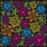 Σχέδιο λουλουδιών και φυλλώματος - αρχικά χρώματα Στοκ Εικόνα
