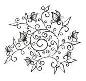 Σχέδιο λουλουδιών με τις πεταλούδες Στοκ Εικόνα