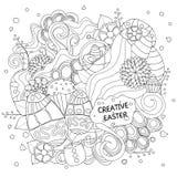 Σχέδιο Πάσχας κινούμενων σχεδίων αποθεμάτων doodle κάρτα, φυλλάδιο, θέση Στοκ Εικόνα