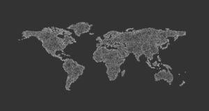 Σχέδιο παγκόσμιων χαρτών σκίτσων από τις κυρτές γραμμές - διανυσματική απεικόνιση ελεύθερη απεικόνιση δικαιώματος
