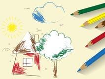 Σχέδιο παιδιού με τα χρωματισμένα μολύβια Στοκ φωτογραφία με δικαίωμα ελεύθερης χρήσης