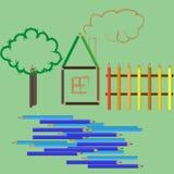 Σχέδιο παιδιού με τα χρωματισμένα μολύβια Στοκ Φωτογραφία