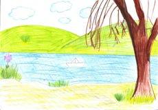 Σχέδιο παιδιών της βάρκας εγγράφου Στοκ φωτογραφία με δικαίωμα ελεύθερης χρήσης