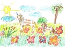 Σχέδιο παιδιών των μονοκέρων ενός παραμυθιού που βόσκουν στο λιβάδι Στοκ Εικόνα