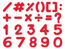 Σχέδιο πηγών για τους αριθμούς και τα σημάδια στο κόκκινο χρώμα Στοκ εικόνα με δικαίωμα ελεύθερης χρήσης