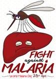 Σχέδιο που προωθεί την πάλη ενάντια στην ελονοσία με το συκώτι που μολύνεται από το κουνούπι, διανυσματική απεικόνιση Στοκ Εικόνες