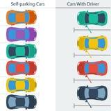 Σχέδιο που σταθμεύει τα κανονικά αυτοκίνητα και μόνος-που οδηγεί τους αυτούς διανυσματική απεικόνιση
