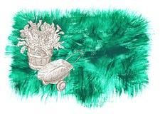 Σχέδιο που τίθεται με τα λουλούδια και wheelbarrow στο πράσινο υπόβαθρο απεικόνιση αποθεμάτων