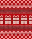 Σχέδιο πουλόβερ διακοπών Χριστουγέννων με τα κιβώτια δώρων Άνευ ραφής patte Στοκ Εικόνες