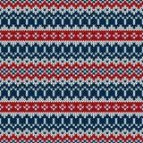 Σχέδιο πουλόβερ χειμερινών διακοπών στο παραδοσιακό δίκαιο ύφος νησιών Στοκ Εικόνες