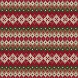 Σχέδιο πουλόβερ Χριστουγέννων Άνευ ραφής πλεκτό σχέδιο στο traditiona Στοκ Φωτογραφία