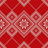 Σχέδιο πουλόβερ Χριστουγέννων πρότυπο άνευ ραφής Στοκ Εικόνες