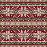 Σχέδιο πουλόβερ Χριστουγέννων πλέκοντας πρότυπο άνευ ρα&p Χειμώνας Holi Στοκ Φωτογραφίες